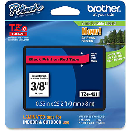 "Brother TZE421 Label Tape, 3/8"" Black/Red"