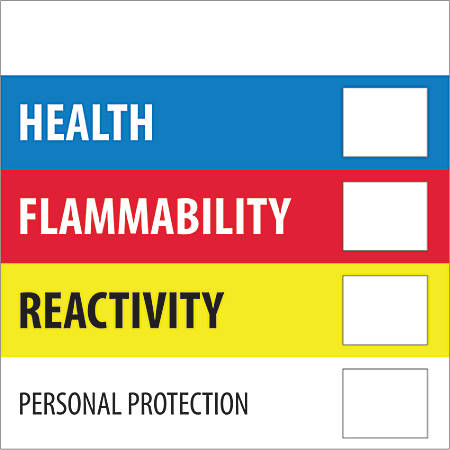 """Tape Logic® Preprinted Shipping Labels, DL1286, Health Flammability Reactivity, Square, 4"""" x 4"""", Multicolor, Roll Of 500"""