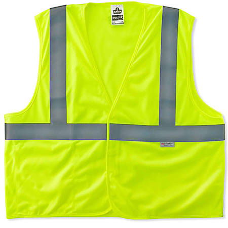 Ergodyne GloWear Safety Vest, After-Flame Treated, Type-R Class 2, 4X/5X, Lime, 8255HL
