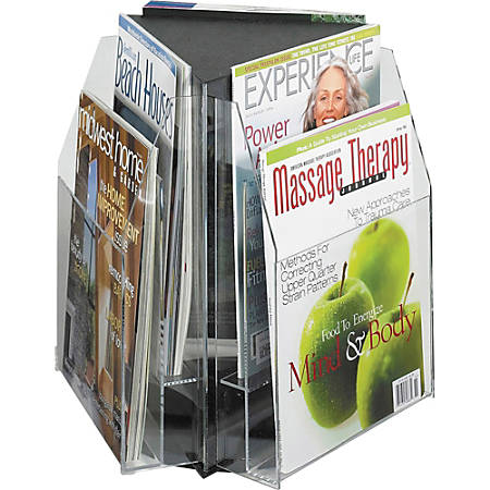 "6-Pocket Magazine and Pamphlet Rotating Tabletop Display, Triangular, 12 3/4""H x 15""W"
