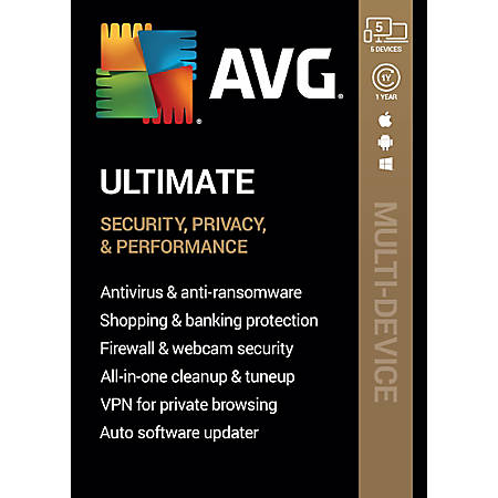 AVG Ultimate Software, For 5 Devices, 1-Year Subscription, For PC/Mac, Traditional Disc