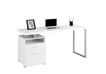 Superb Monarch Specialties Contemporary Computer Desk With 2 Drawers And Open Shelf Silver White Item 631409 Download Free Architecture Designs Embacsunscenecom