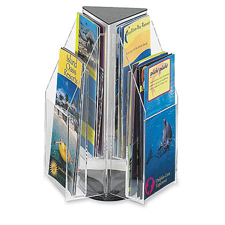 "6-Pocket Pamphlet Rotating Tabletop Display, Triangular, 12 3/4""H x 9 3/4""W"
