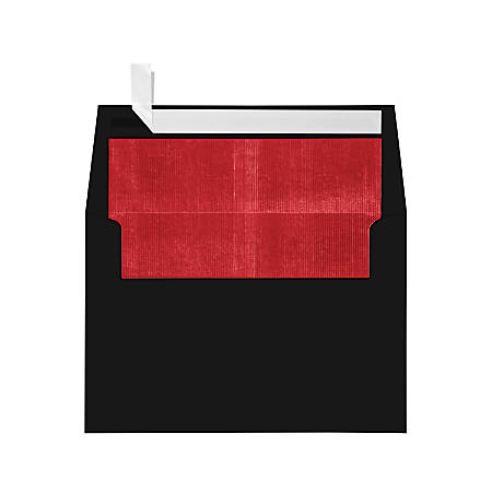 "LUX Foil-Lined Invitation Envelopes With Peel & Press Closure, A4, 4 1/4"" x 6 1/4"", Black/Red, Pack Of 50"