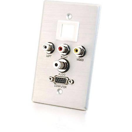 C2G Single Gang HD15 + 3.5mm + RCA A/V + Keystone Wall Plate - Brushed Aluminum - 1-gang - Brushed Aluminum - 1 x Mini-phone Port(s) - 1 x RCA Port(s) - 1 x VGA Port(s)