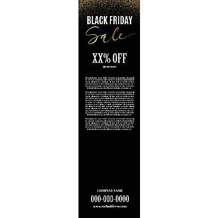 Vertical Banner Template, Black Glitter