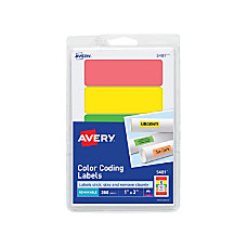 Avery Removable LaserInkjet Organization Labels Color