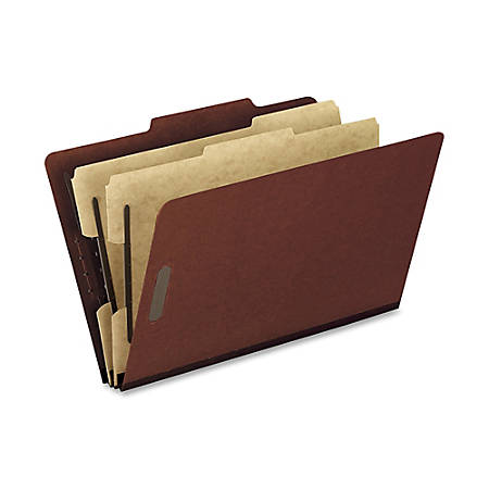 """Oxford® Pressboard Classification Folders, Legal Size, 2"""" Expansion, 2 Dividers, 65% Recycled, Red, Box Of 10"""