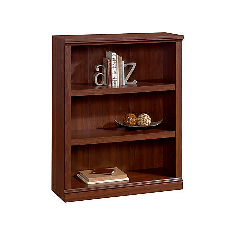 Realspace® Premium Bookcase, 3-Shelf, Brick Cherry
