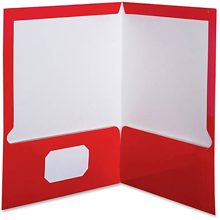 """Oxford™ Laminated Twin-Pocket Folders, 8 1/2"""" x 11"""", Red, Box Of 25"""
