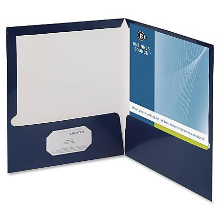 "Oxford™ Laminated Twin-Pocket Folders, 8 1/2"" x 11"", Navy, Box Of 25"