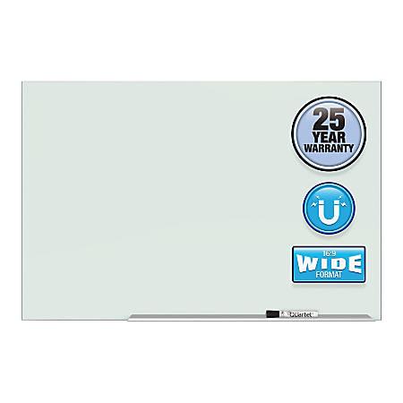 """Quartet Element™ Framed Magnetic Glass Dry-Erase Board, 74"""" x 42"""", Aluminum Frame"""