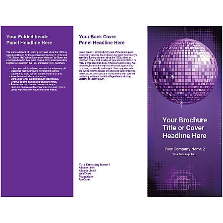 Customizable Trifold Brochure, Purple Disco Ball