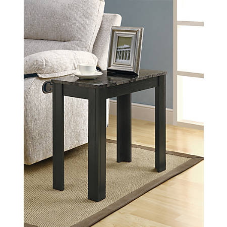 Monarch Specialties Modern Accent Table, Rectangular, Black/Gray Marble