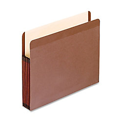 "Oxford® Recycled Vertical Expanding File Pockets, Letter Size, 5 1/4"" Expansion, Red, Pack Of 5"