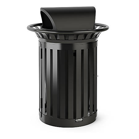 """Suncast Commercial Outdoor Round Metal Slat Trash Can With Lid, 35 Gallons, 46"""" x 34"""", Black"""