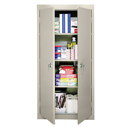 """Sandusky 30"""" Steel Storage Cabinet With 3 Fixed Shelves, Putty"""