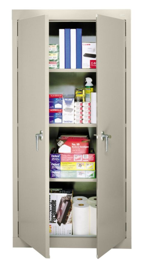 Sandusky 30 Steel Storage Cabinet With 3 Fixed Shelves Putty By Office  Depot U0026 OfficeMax