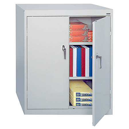 "Sandusky® 42"" Steel Storage Cabinet With 2 Adjustable Shelves, 42""H x 36""W x 18""D, Dove Gray"