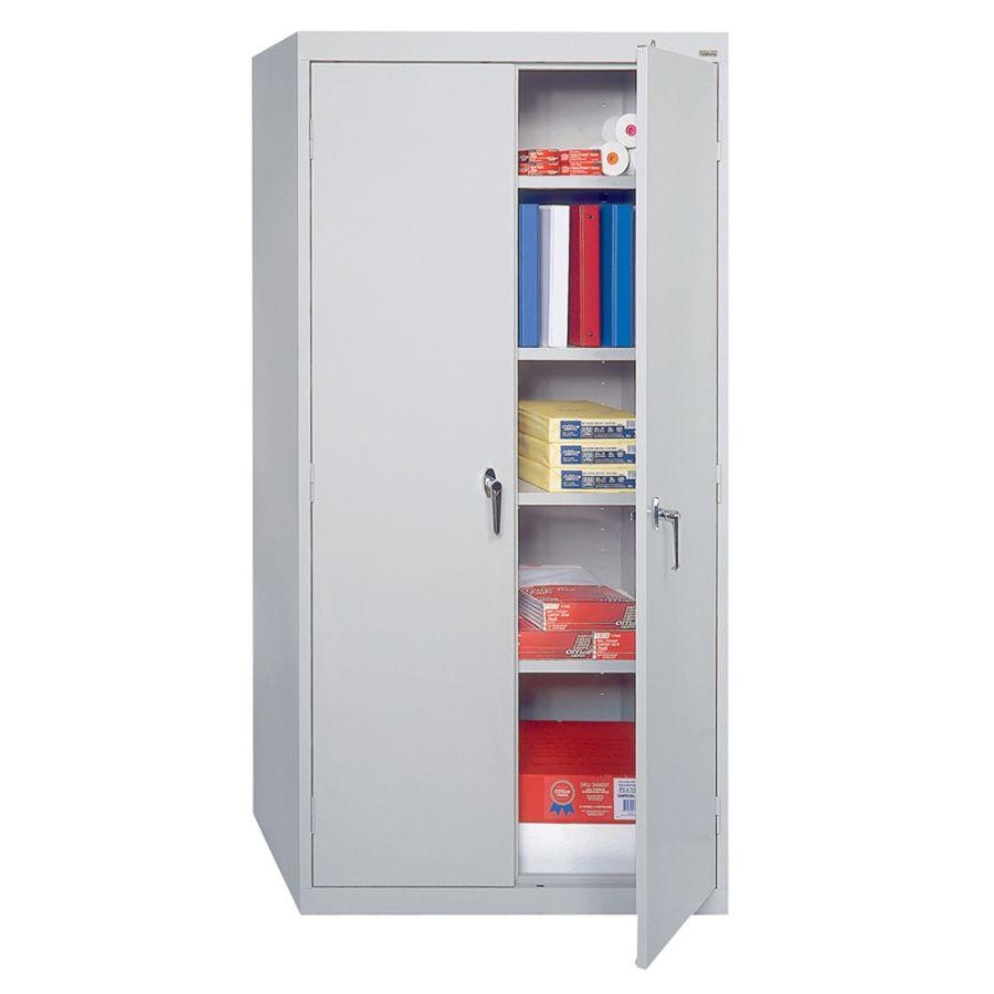 Sandusky 72 Steel WeldedAssembled Storage Cabinet With 4 Adjustable Shelves  Dove Gray By Office Depot U0026 OfficeMax