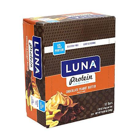 Luna Protein Bars, Chocolate Peanut Butter, 1.59 Oz, Pack Of 12