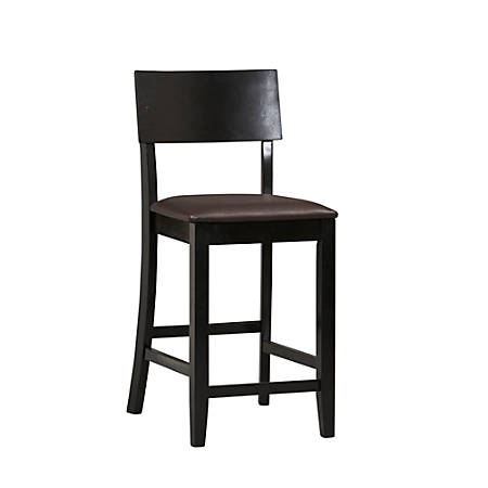 "Linon Home Decor Products Torino Bar Stool, 24""H, Dark Brown/Black"