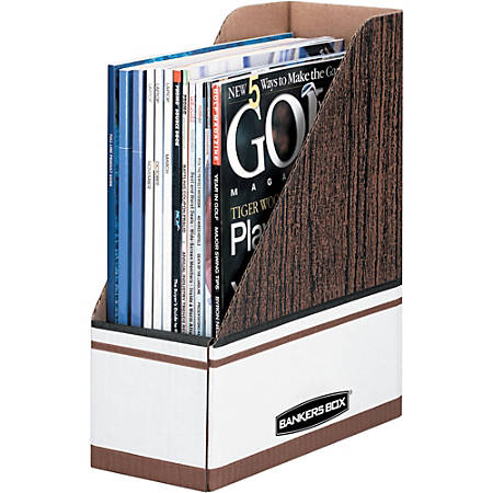 Bankers Box Magazine Files - Oversized Letter - Wood Grain, White - Cardboard