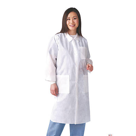 Medline Multilayer Lab Coats With Knit Cuffs, Large, 10 Lab Coats Per Box, Case Of 3 Boxes