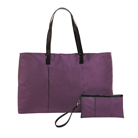 "Tote With Matching Clutch, 10""H x 23""W x 9""D, Purple"