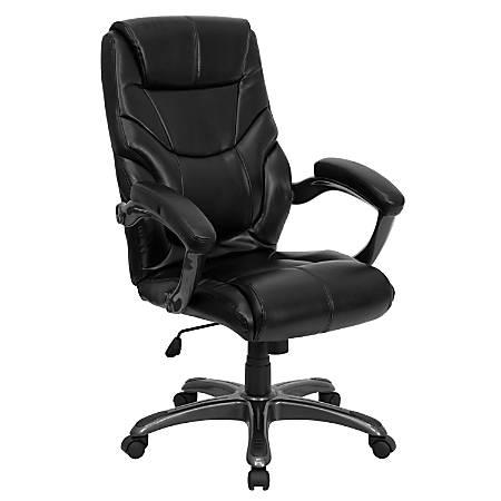 Incredible Flash Furniture Overstuffed Leather High Back Swivel Chair Black Item 632843 Creativecarmelina Interior Chair Design Creativecarmelinacom