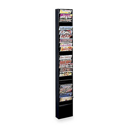 Buddy Steel Literature Display Rack - 23 Pocket(s) - Wall Mountable - Black - Steel - 1Each