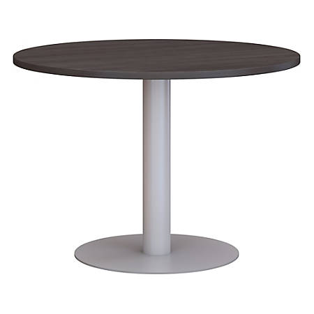 """Bush Business Furniture 42""""W Round Conference Table with Metal Disc Base, Storm Gray, Premium Installation"""
