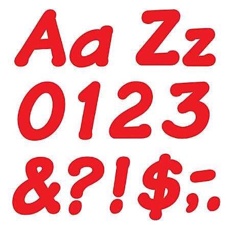 """TREND Ready Letters®, 4"""", Italic Letters/Numbers, Red, Pre-K - Grade 8, Pack Of 194"""