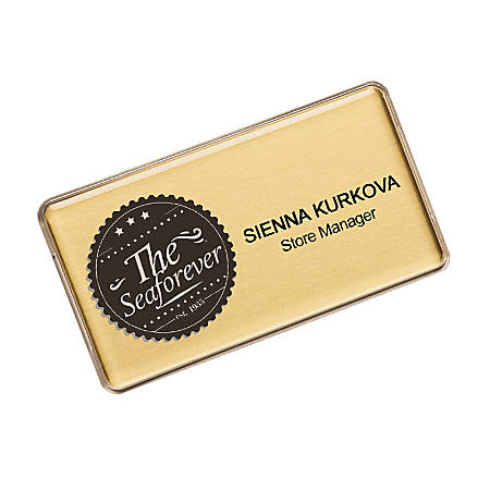 """The Mighty Badge™ Name Badge Kit For Inkjet Printers, 1 1/2"""" x 3"""", Gold, Pack Of 10"""