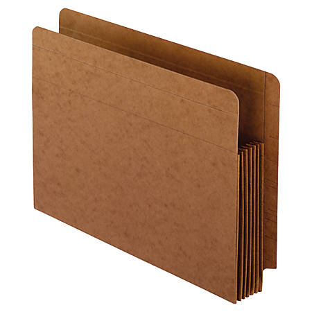 "Pendaflex® Fiber Stock Heavy-Duty Expanding Pocket Folders, 5 1/4"" Expansion, Letter Size, 30% Recycled, Red, Box Of 10 Folders"