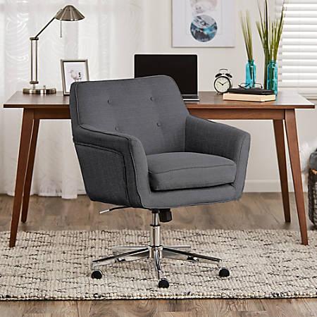 Serta® Ashland Home Mid-Back Office Chair, Twill Fabric, Graphite/Chrome