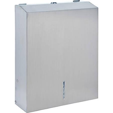 "Genuine Joe C-Fold/Multi-fold Towel Dispenser Cabinet - C Fold, Multifold Dispenser - 13.5"" Height x 11"" Width x 4.3"" Depth - Metal - Stainless Steel"