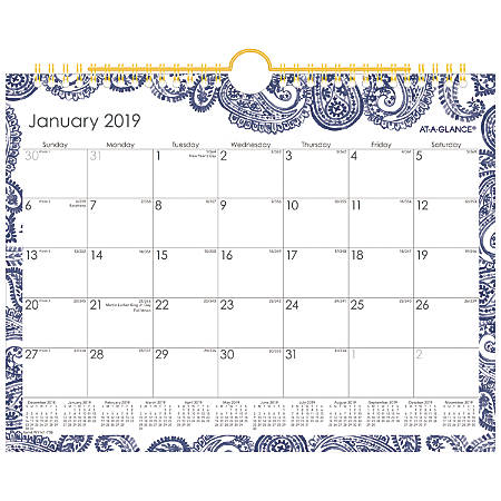 """AT-A-GLANCE® Monthly Wall Calendar, 11"""" x 8 1/2"""", Paige, January 2019 to December 2019"""
