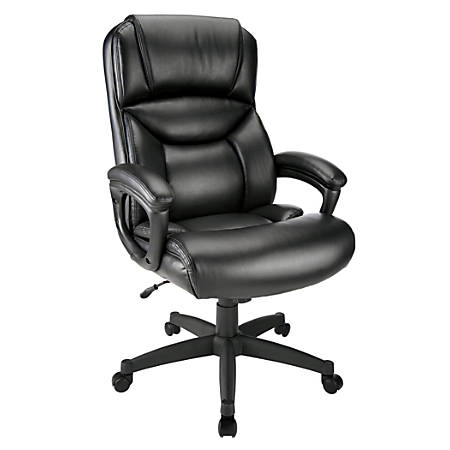 Realspace® Fennington Bonded Leather Executive High-Back Chair, Black