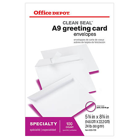 "Office Depot® Brand Clean Seal™ Invitation Envelopes, 5 3/4"" x 8 3/4"", White, Box Of 100"