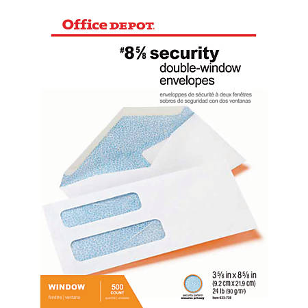"Office Depot® Brand Double-Window Envelopes, #8 5/8"", 3 5/8"" x 8 5/8"", White, Gummed, Box Of 500"