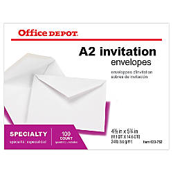 Office Depot Brand Invitation Envelopes 4 38 X 5 34 White Pack Of