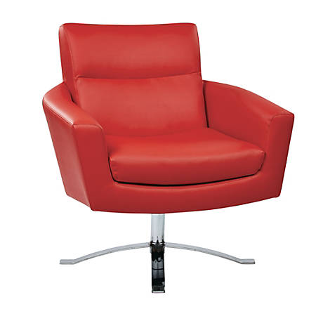 Ave Six Nova Faux Leather Arm Chair, Red/Chrome