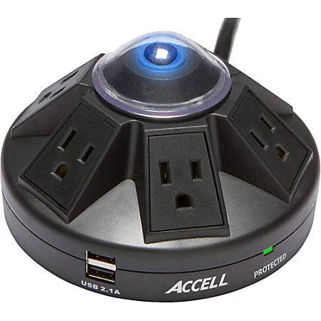 Accell Powramid 6-Outlet Power Center And USB Charging Station, 6' Cord, RY7294