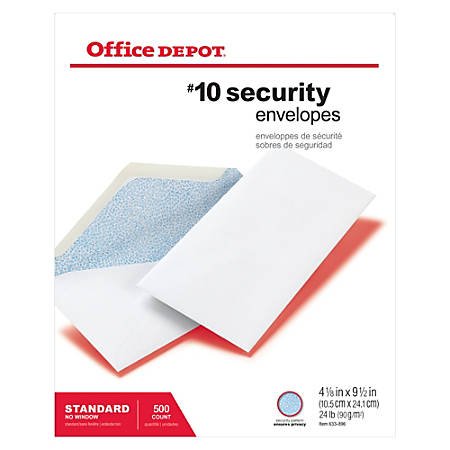 "Office Depot® Brand Security Envelopes, #10, 4 1/8"" x 9 1/2"", White, Box Of 500"