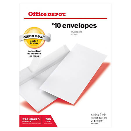 """Office Depot® Brand Clean Seal™ Business Envelopes, #10, 4 1/8"""" x 9 1/2"""", White, Box Of 500"""