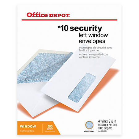 "Office Depot® Brand Security Window Envelopes, #10, 4 1/8"" x 9 1/2"", White, Box Of 500"
