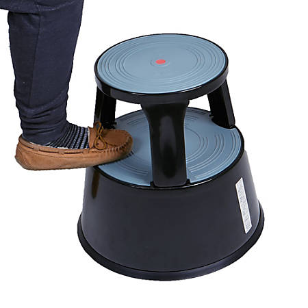 Mind Reader Rolling Step Stool, 2-Step, 330 Lb Capacity, Black