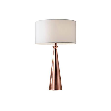 "Adesso® Linda Table Lamp, 21 1/2""H, White Shade/Copper Base"