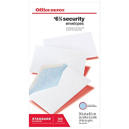 "Office Depot® Brand Security Envelopes, #6 3/4 (3 5/8"" x 6 1/2""), White, Box Of 500"